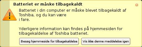Ubunut Toshiba recall message